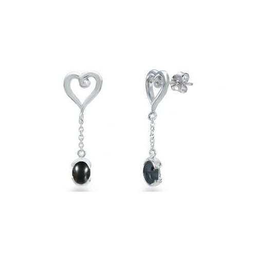 Oval Cut Hematite Dangling Heart Earrings Sterling Silver