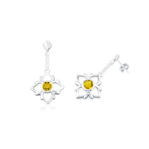 Round Cut Citrine Dangling Earrings Sterling Silver