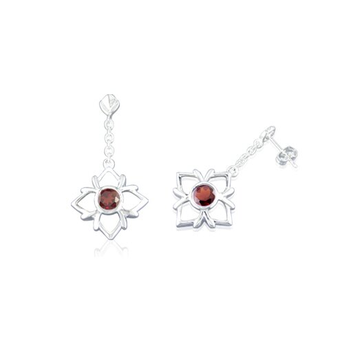 Round Cut Garnet Dangling Earrings Sterling Silver