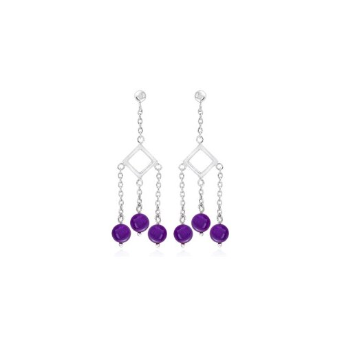 Round Amethyst Bead Party Earrings Sterling Silver