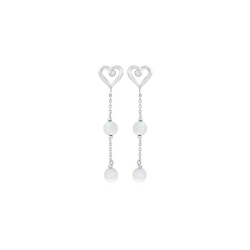Round White Agate Bead Party Earrings Sterling Silver