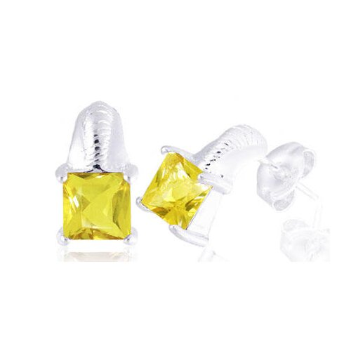 Oravo Princess Cut Citrine Earrings Sterling Silver