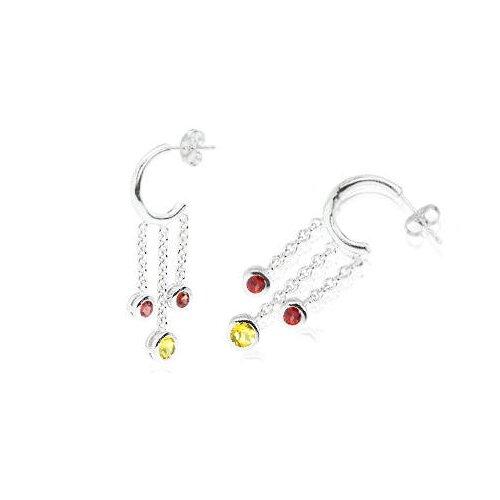 Oravo Round Cut Citrine Garnet Dangling J-hoop Earrings Sterling Silver
