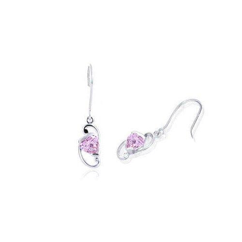 Oravo Heart Cut Pink Cz Dangling Earrings Sterling Silver