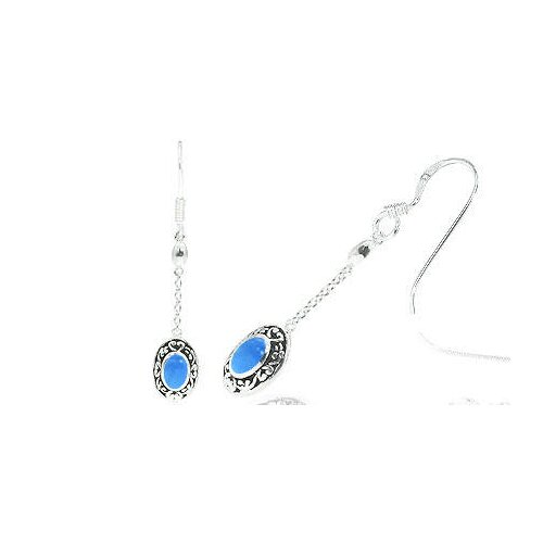Oravo Oval Cut Turquoise Bead Dangling Bali Earrings Sterling Silver