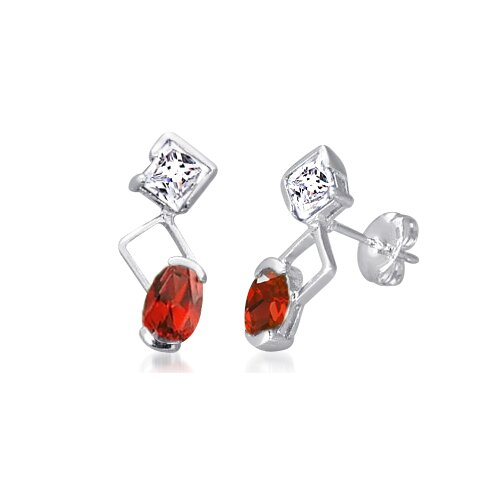 Oravo Multicut Garnet and White Cz Drop Earrings Sterling Silver