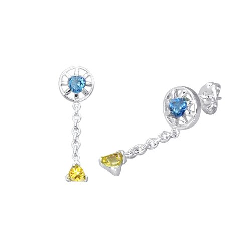 Heart and Trillion Cut London Blue Topaz Citrine Dangling Earrings in Sterling Silver