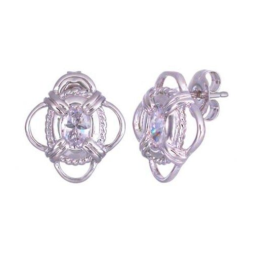 Oravo Oval Cut Cz Earrings in Sterling Silver
