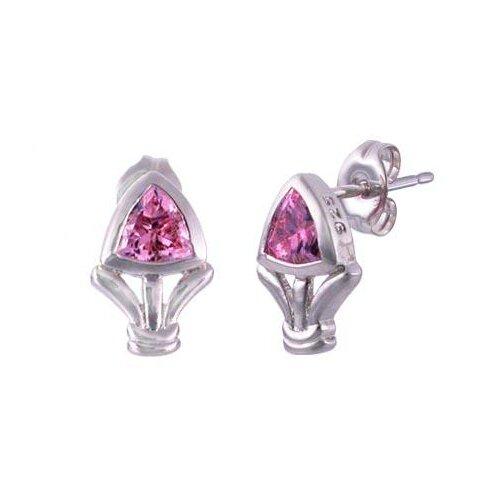 Oravo Trillion Cut Pink Cz Earrings in Sterling Silver