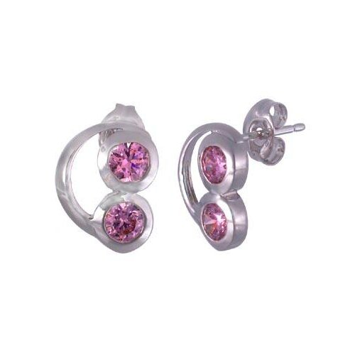 Oravo Round Cut Pink Cz Earrings in Sterling Silver
