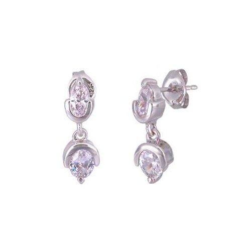 Oravo Oval Cut Cubic Zirconia Dangling Earrings in Sterling Silver