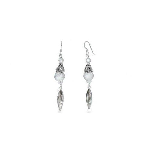 Bali Style Dangling Earrings Oxidized Sterling Silver