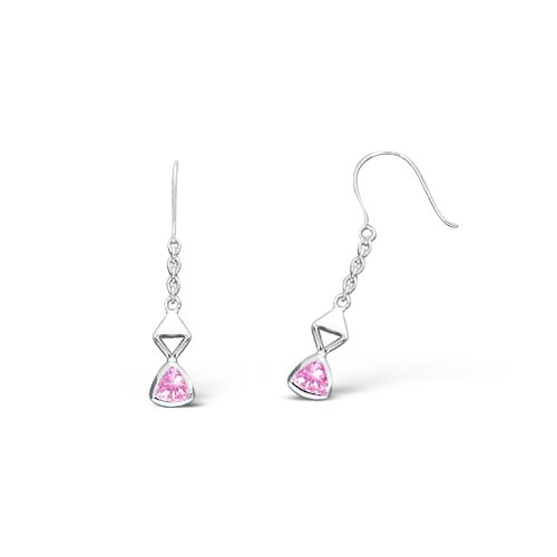 Oravo Trillion Cut Cubic Zirconia Dangling Earrings in Sterling Silver