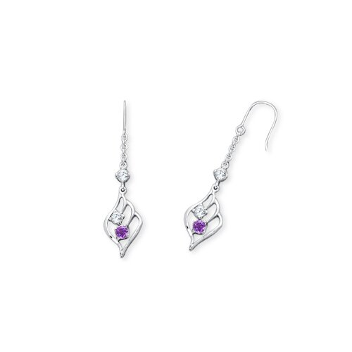 Oravo Round Cut Amethyst and White Cz Dangling Earrings in Sterling Silver