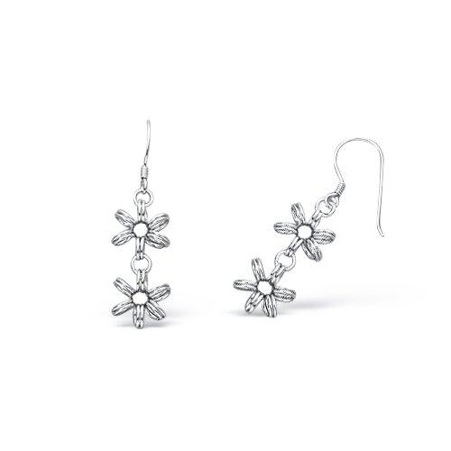 Satin Finish Flower Style Dangling Wire Earrings in Sterling Silver