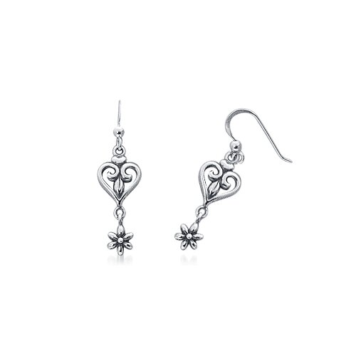 Bali Style Dangling Flower and Heart Earrings in Sterling Silver