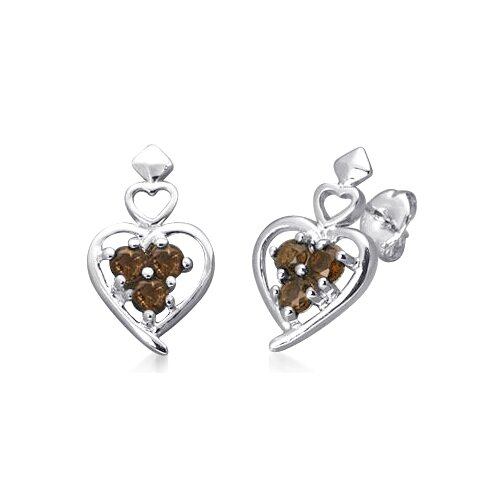 Three Stone Round Smoky Quartz Heart Earrings in Sterling Silver