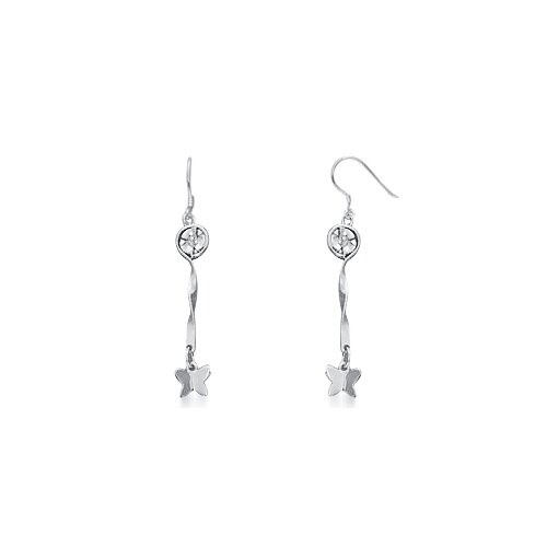 Oravo Dangling Flower and Butterfly Earrings in Sterling Silver