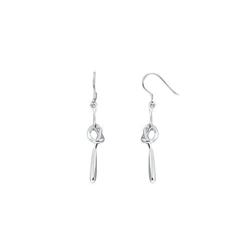 Oravo Dangling Knotted Stick Earrings in Sterling Silver