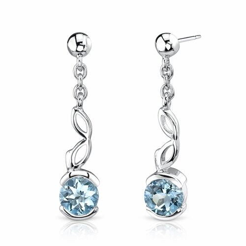 Oravo 2.00 Ct.T.W. Genuine Round Swiss Blue Topaz Earrings in Sterling Silver