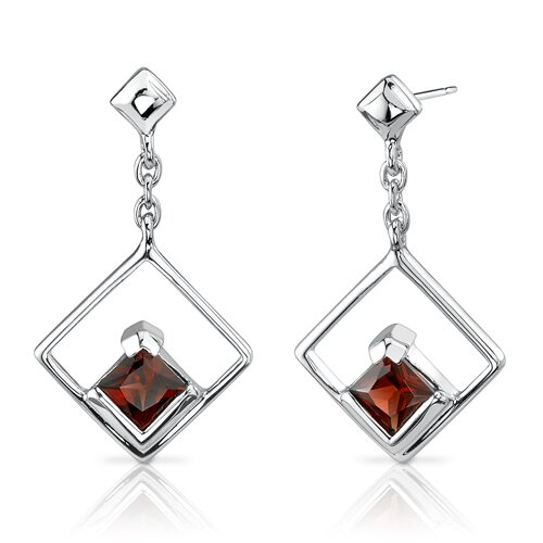 1.50 Ct.T.W. Genuine Princess Cut Garnet Earrings in Sterling Silver