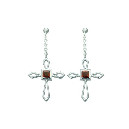 1.50 Ct.T.W. Genuine Princess Cut Garnet Cross Earrings in Sterling Silver
