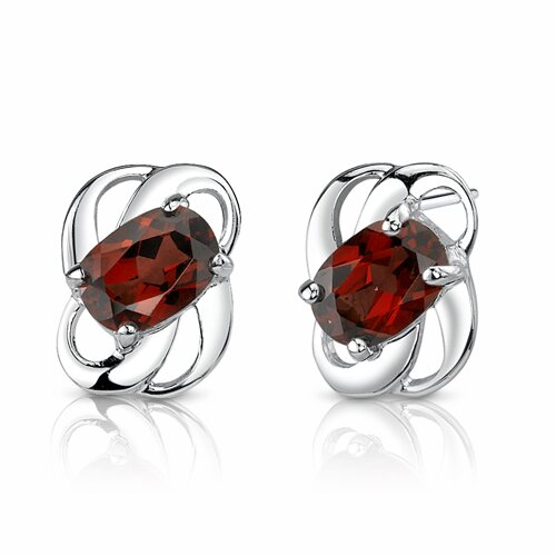 2.00 Ct.T.W. Genuine Oval Shape Garnet Earrings in Sterling Silver