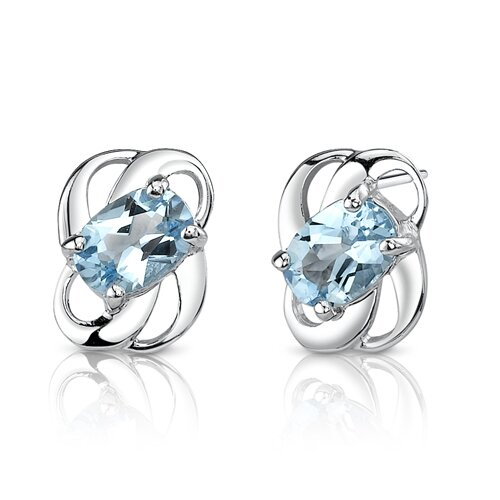 2.00 Ct.T.W. Genuine Oval Shape Swiss Blue Topaz Earrings in Sterling Silver