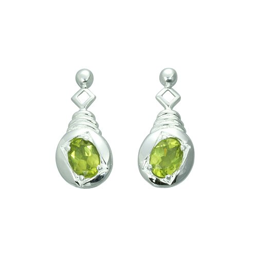 Oravo 1.50 Ct.T.W. Genuine Oval Shape Peridot Earrings in Sterling Silver