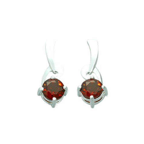 2.00 Ct.T.W. Genuine Round Garnet Earrings in Sterling Silver