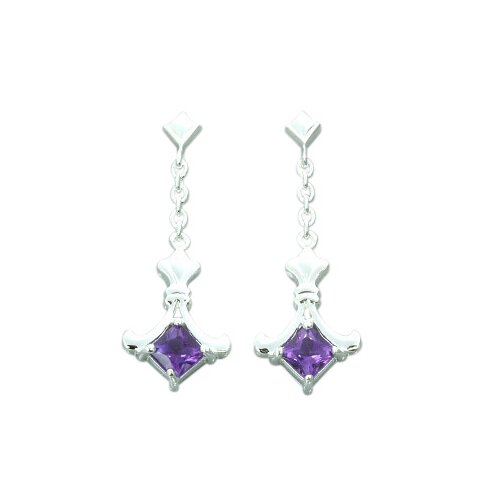Oravo 1.00 Ct.T.W. Genuine Princess Cut Gemstone Earrings in Sterling Silver