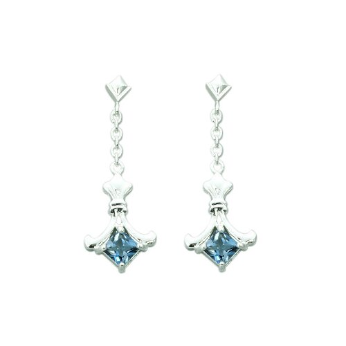 Oravo 1.50 Ct.T.W. Genuine Princess Cut London Blue Topaz Earrings in Sterling Silver