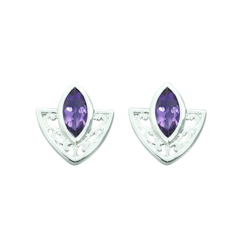 Oravo 1.00 Ct.T.W. Genuine Marquise Cut Earrings in Sterling Silver