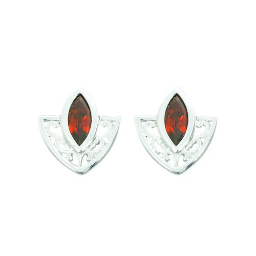1.50 Ct.T.W. Genuine Marquise Cut Garnet Earrings in Sterling Silver