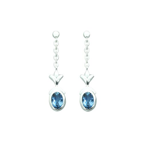 2.00 Ct.T.W. Genuine Oval Shape London Blue Topaz Earrings in Sterling Silver