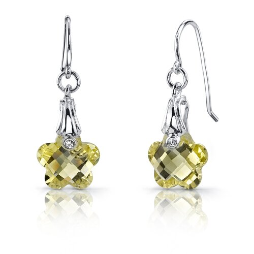 Blooming Flower Cut 6.50 Carats Lemon Quartz Fishhook Earrings in Sterling Silver