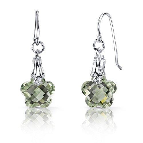Oravo Blooming Flower Cut 7.00 Carats Green Amethyst Fishhook Earrings in Sterling Silver