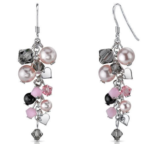 In Full Bloom Drop Earrings with s and Cultured Pearls Heart Motif in Sterling Silver ...