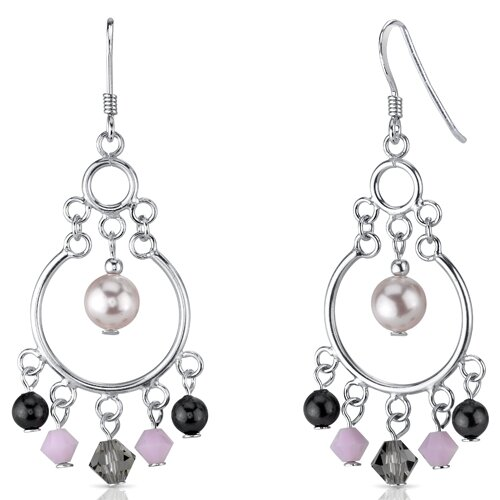 Cultured Pearl of Wisdom Pink s and Cultured Pearls Drop Earrings in Sterling Silver with ...