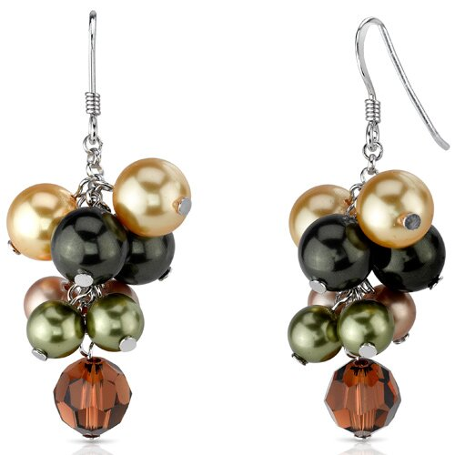 Earth Goddess s and Cultured Pearls Cluster Drop Earrings in Sterling Silver with Swarovski ...
