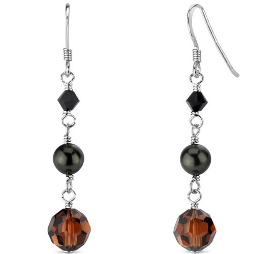 Oravo Earth Angel Swarovski Elements and Cultured Pearls Cascade Drop Earrings in Sterling Silver with Swarovski Elements