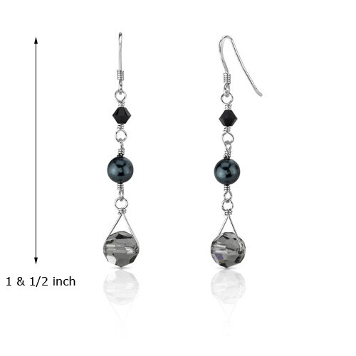 Oravo Eye of the Storm s and Cultured Pearls Drop Earrings in Sterling Silver with Swarovski Elements