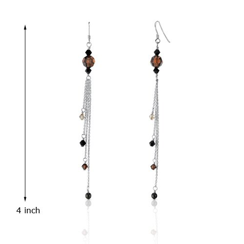 Oravo Amber Beauty s and Cultured Pearls Drop Earrings in Sterling Silver with Swarovski Elements