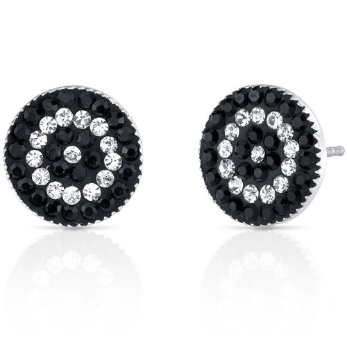 Oravo Concentric Circles Earrings with Swarovski Jet Black and Clear Crystals in Sterling Silver with Swarovski Elements