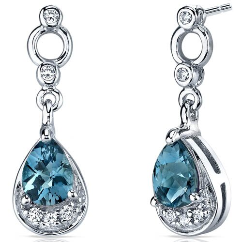 Simply Classy 1.50 Carats London Blue Topaz Dangle Earrings in Sterling Silver