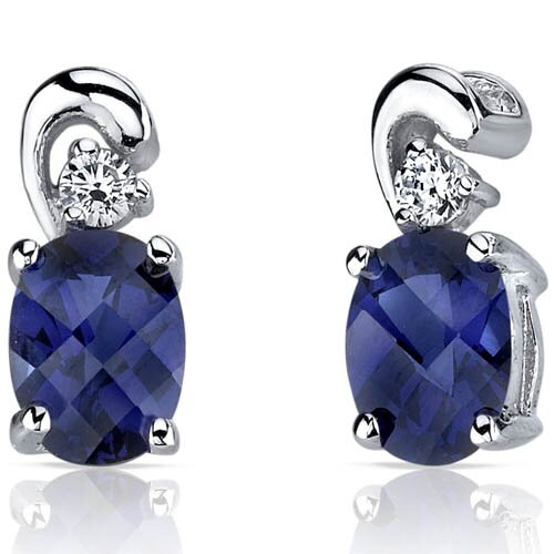 Sleek and Radiant 2.00 Carats Blue Sapphire Earrings in Sterling Silver