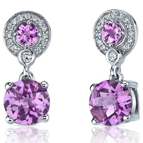 Oravo Refined Elegance 5.00 Carats Pink Sapphire Dangle Earrings in Sterling Silver