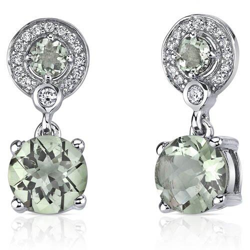 Refined Elegance 3.50 Carats Green Amethyst Dangle Earrings in Sterling Silver