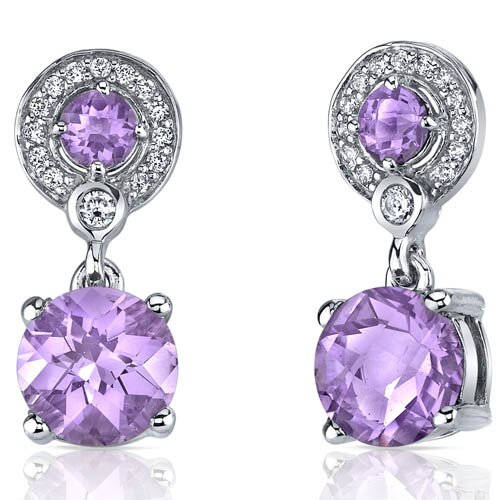 Refined Elegance Gemstone Dangle Earrings in Sterling Silver
