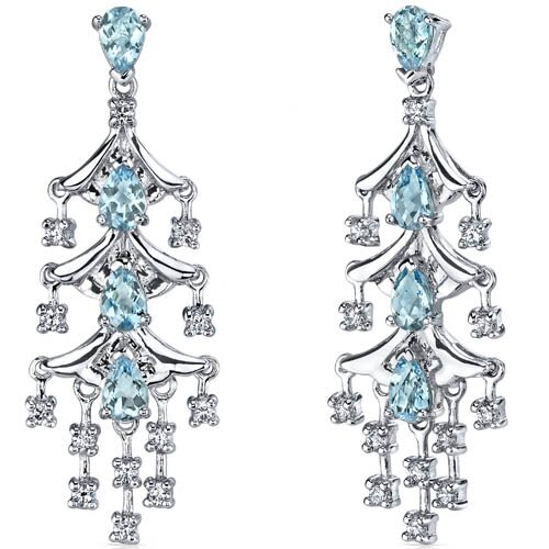 Oravo Captivating Seduction 4.00 Carats Swiss Blue Topaz Dangle Earrings in Sterling Silver